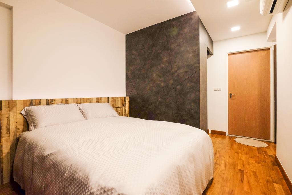 Industrial, HDB, Bedroom, Punggol Way (Block 315B), Interior Designer, Nitty Gritty Interior, King Size Bed, Wooden Floor, Recessed Lights, Cozy, Cosy, Modern Contemporary Bedroom, Wooden Door, Wooden Bedding Panel