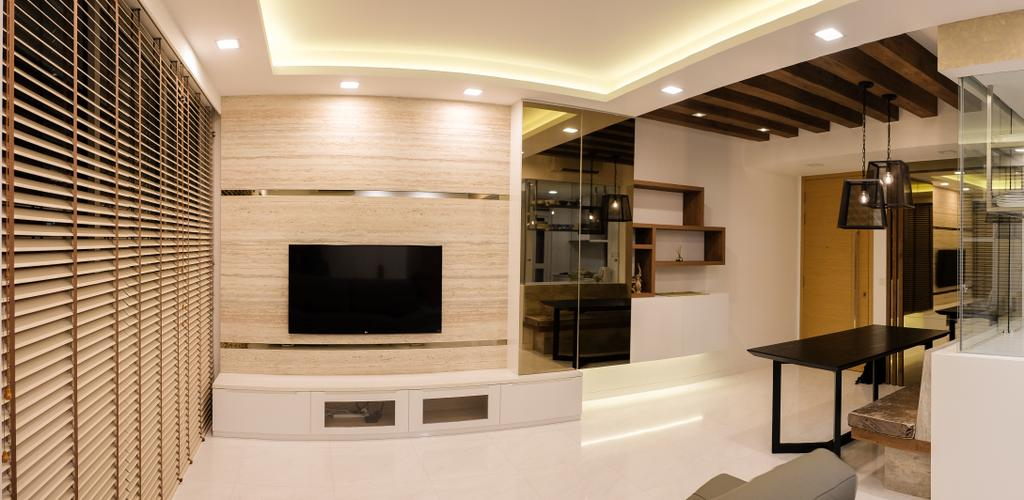 Scandinavian, Condo, Living Room, RV Residence, Interior Designer, Nitty Gritty Interior, Wall Mounted Television, Television Console, Coffered Ceiling, Hidden Interior Lighting, Modern Contemporary Living Room, Wooden Panel, Recessed Lights