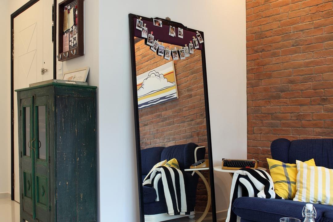 Tanjong Rhu, Versaform, Industrial, Living Room, Condo, Full Length Mirror, Brick Wall, Coffee Table, Track Light, Wood, Vintage Cabinet, Green Cabinet, Cabinet, Vintage, Brown Coffee Table, Couch, Furniture, Chair