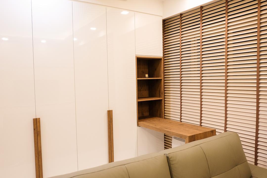 RV Residence, Nitty Gritty Interior, Scandinavian, Living Room, Condo, Built In Shelves, Wooden Shelves, Modern Contemporary Living Room, White Wardrobe