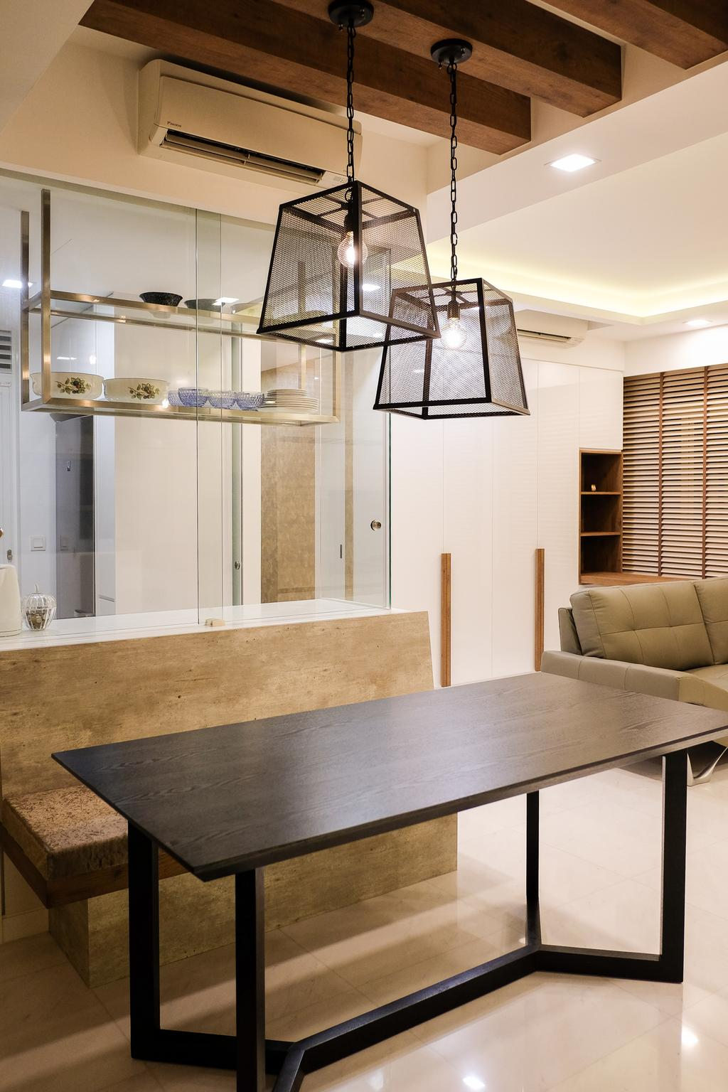 Scandinavian, Condo, Dining Room, RV Residence, Interior Designer, Nitty Gritty Interior, Wooden Bench, Wooden Dining Table, Hanging Lights, Recessed Lights, Modern Contemporary Dining Room