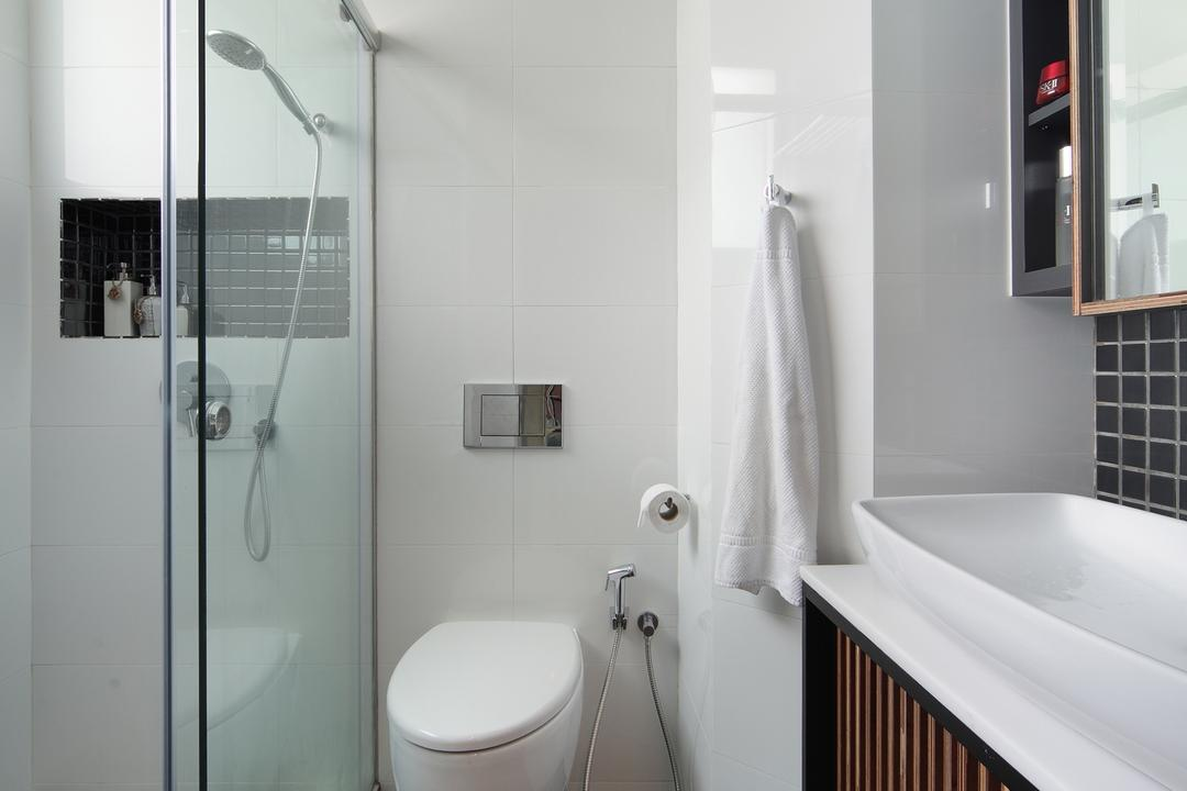 Tanjong Rhu, Versaform, Industrial, Bathroom, Condo, Bathroom Tiles, White Basin, White Sink Top, Wooden Cabinet, Grey Tiles, Gray Tiles, Gray Flooring, Grey Flooring, Glass Shower Doors, Indoors, Interior Design, Room
