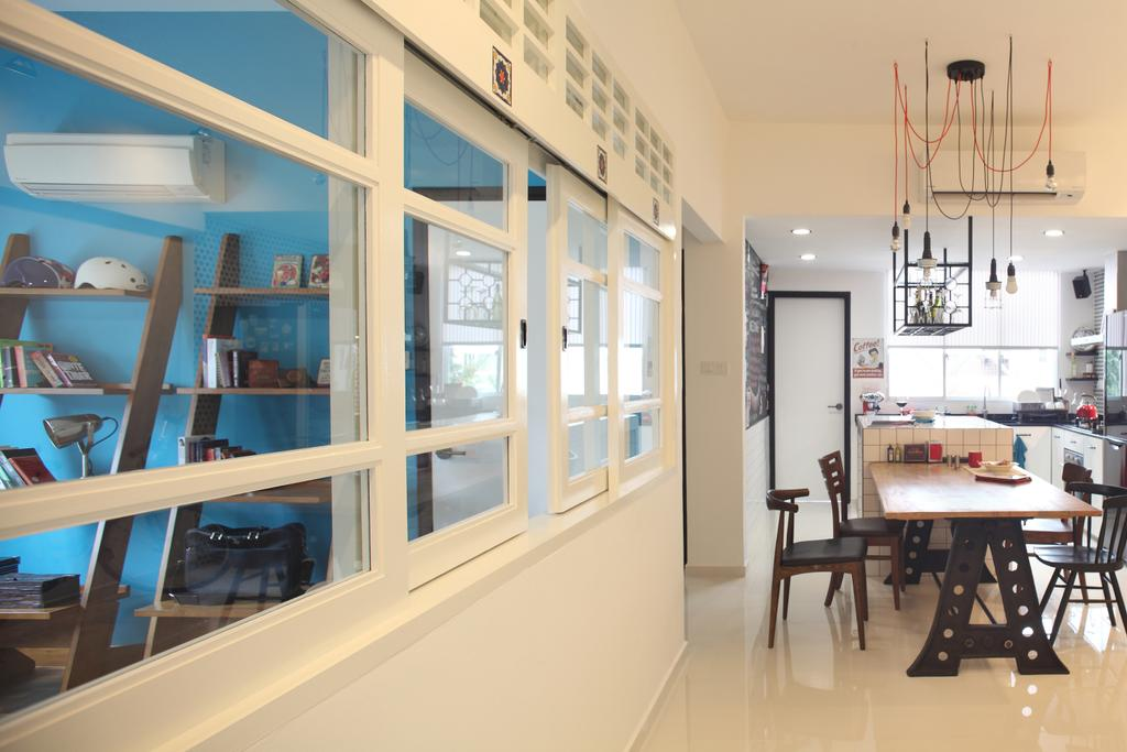 Industrial, Condo, Dining Room, Tanjong Rhu, Interior Designer, Versaform, Hanging Light, Drop Light, Dining Table, Dining Chairs, White Window Frames, White Frames, Furniture, Table, Sink, Bookcase, Indoors, Interior Design, Kitchen, Room