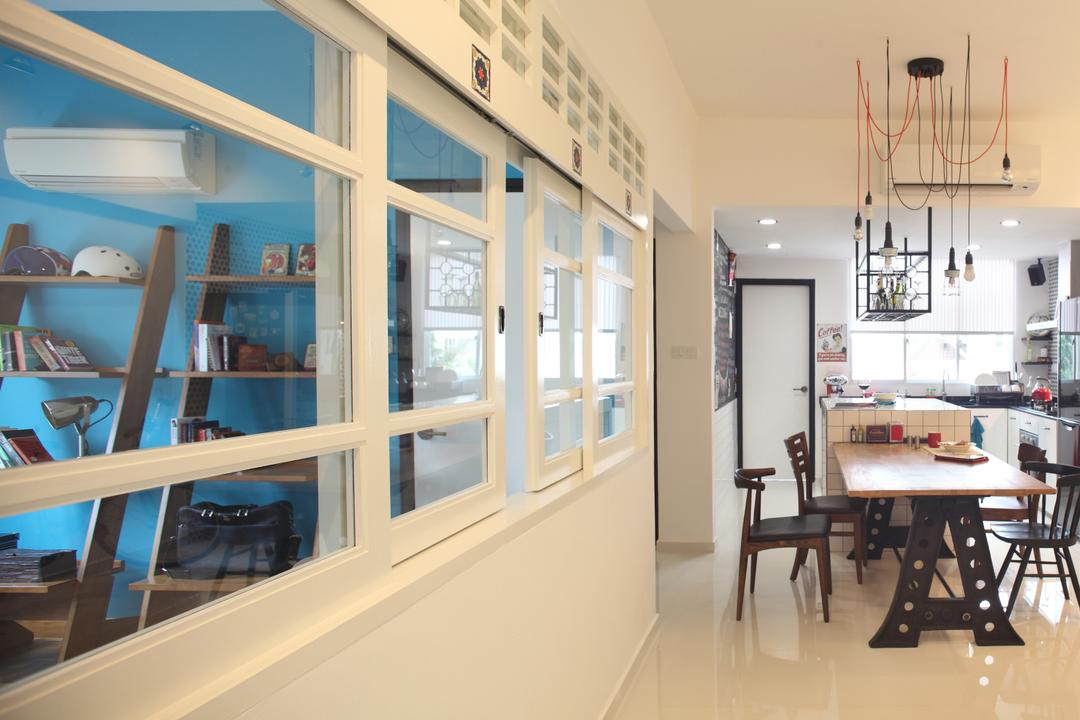 Tanjong Rhu, Versaform, Industrial, Dining Room, Condo, Hanging Light, Drop Light, Dining Table, Dining Chairs, White Window Frames, White Frames, Furniture, Table, Sink, Bookcase, Indoors, Interior Design, Kitchen, Room