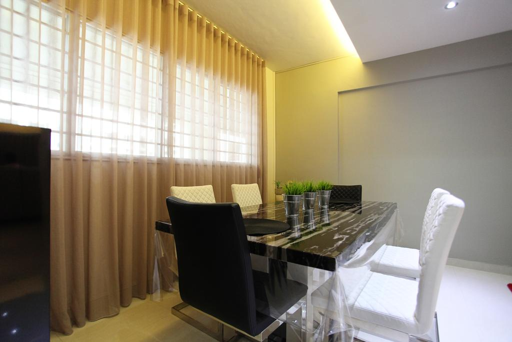 Contemporary, HDB, Dining Room, Lorong Ah Soo (Block 144), Interior Designer, DreamVision Designer, Sling Curtain, Black Dining Chair, White Dining Chair, Black Marble Table, Hidden Interior Lighting, Recessed Lights, Modern Contemporary Dining Room