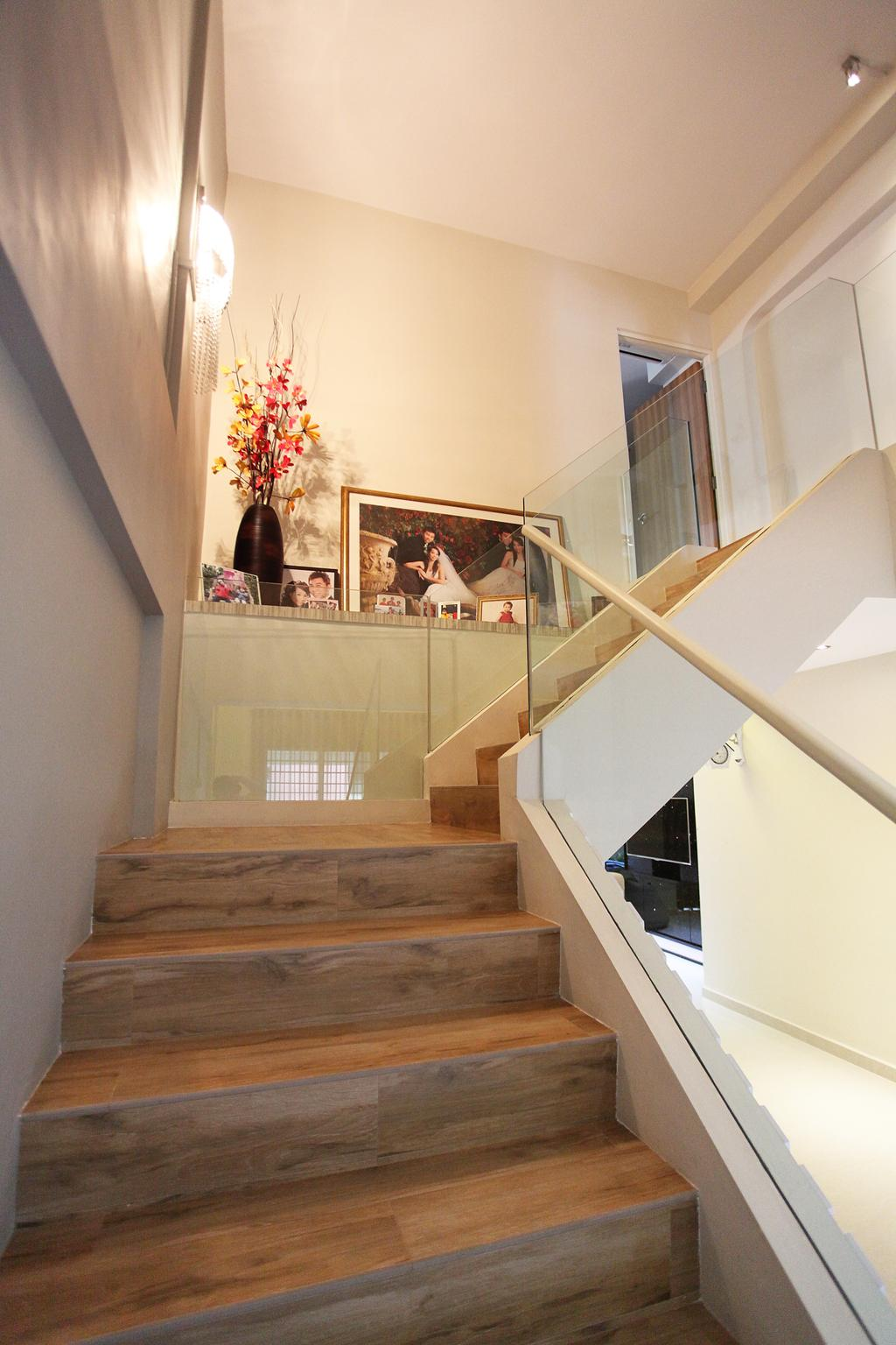 Contemporary, HDB, Living Room, Lorong Ah Soo (Block 144), Interior Designer, DreamVision Designer, Stairs, Staircase, Stairways, Wooden Stair