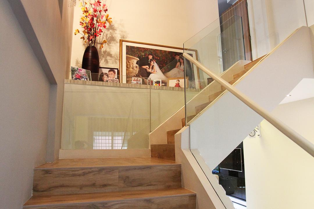 Lorong Ah Soo (Block 144), DreamVision Designer, Contemporary, Living Room, HDB, Stairs, Staircase, Stairways, Wooden Stair