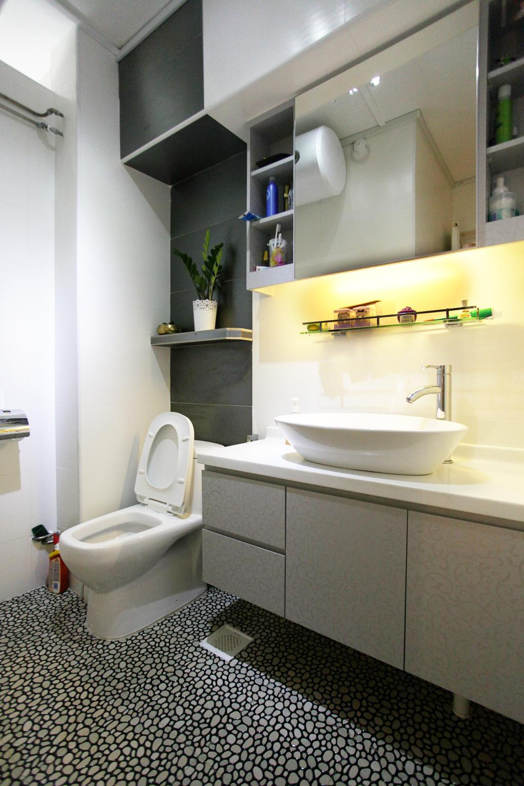 Contemporary, HDB, Bathroom, Lorong Ah Soo (Block 144), Interior Designer, DreamVision Designer, Protruding Sink, Hidden Interior Lighting, Pola Dot Floor, Wooden Shelves, Wooden Cabinet, Wooden Cupboard