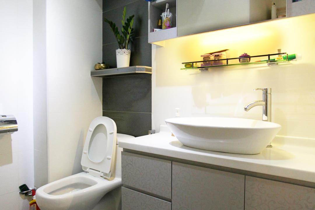 Lorong Ah Soo (Block 144), DreamVision Designer, Contemporary, Bathroom, HDB, Protruding Sink, Hidden Interior Lighting, Pola Dot Floor, Wooden Shelves, Wooden Cabinet, Wooden Cupboard