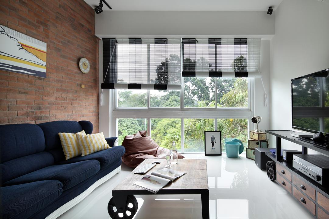 Tanjong Rhu, Versaform, Industrial, Living Room, Condo, Blinds, Tv Console, Wood Laminate, Brick Wall, Monochrome Blinds, White Flooring, Dark Blue Sofa, Wall Art, Tv Shelf, Coffee Table, Brown Coffee Table, Human, People, Person, Couch, Furniture