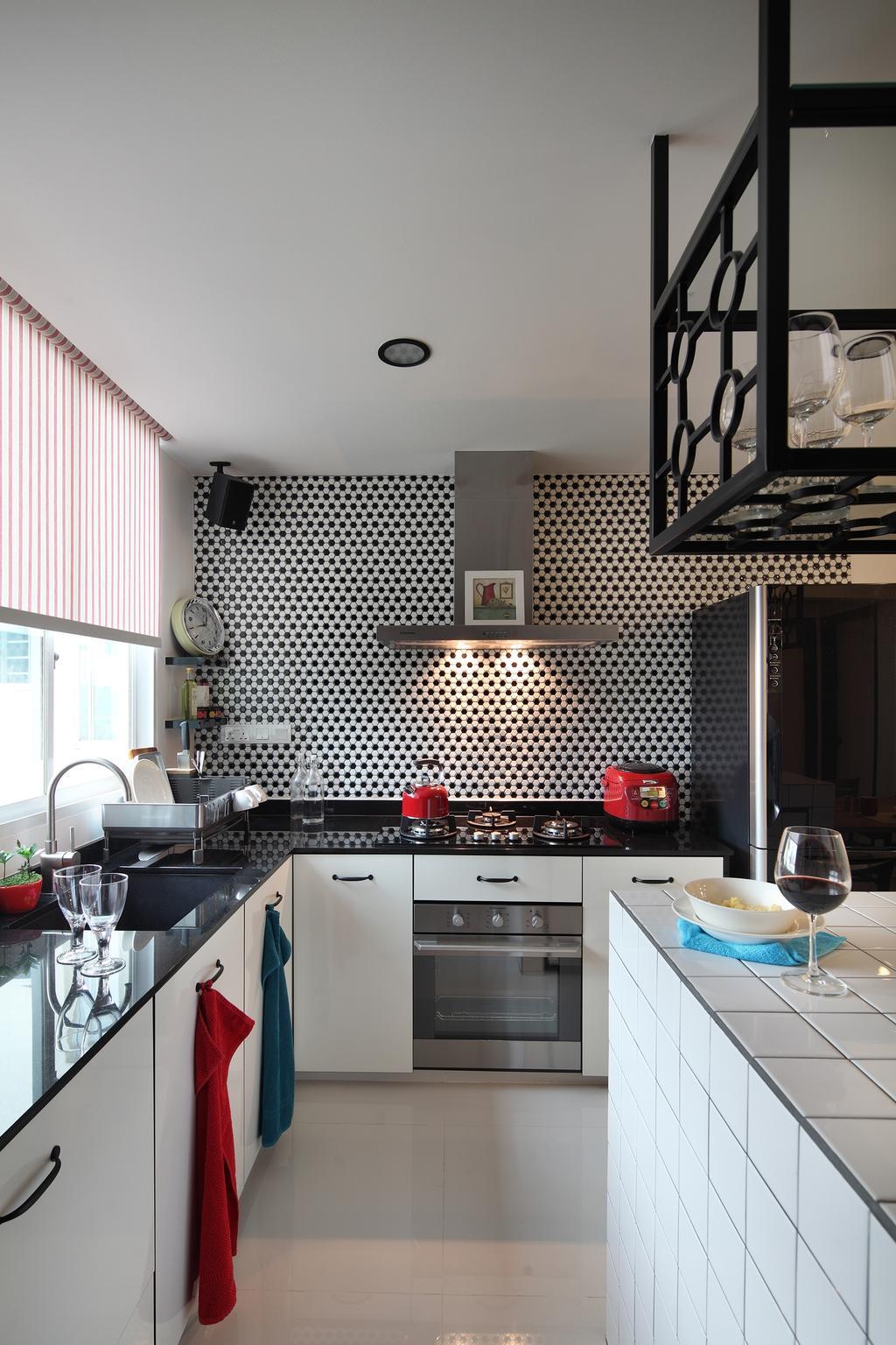 Industrial, Condo, Kitchen, Tanjong Rhu, Interior Designer, Versaform, Tiled Kitchen Top, Backsplash, Cooking Hood, Cooker Hood, White Cabinet, Black Kitchen Top, Glass