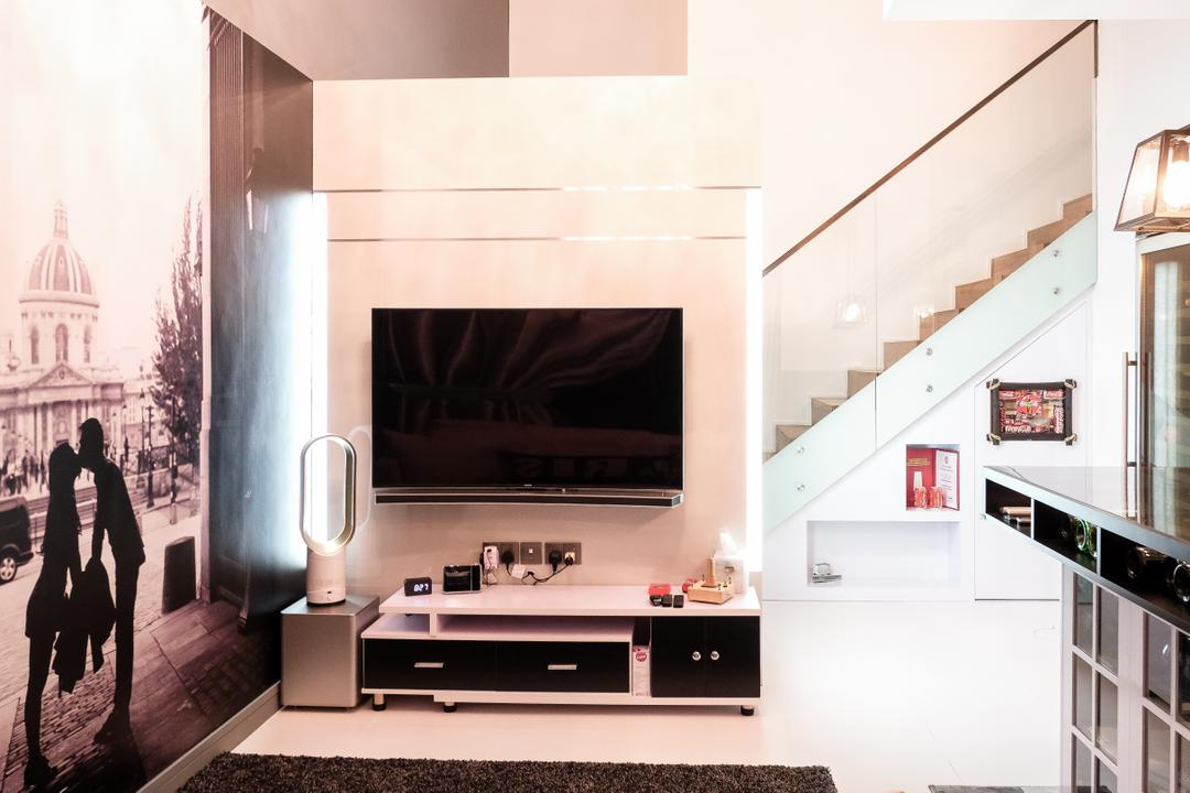 SkyTerrace @ Dawson (Block 89), Nitty Gritty Interior, Modern, Living Room, HDB, Modern Contemporary Living Room, Monochrome, Artsy, Stairway, Staircase, Stairs, Wall Mounted Television, Television Console