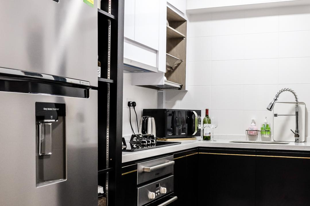 SkyTerrace @ Dawson (Block 89), Nitty Gritty Interior, Modern, Kitchen, HDB, White Ceramic Floor, Built In Oven, White Laminated Top, Black Kitchen Cabinet, Black Kitchen Cupboard, White Cabinet, White Cupboard