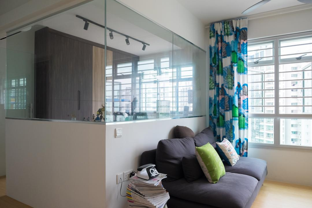 Punggol Edgefield (Block 617A), Nitty Gritty Interior, Minimalistic, Living Room, HDB, Woden Floor, Sling Curtain, Modern Contemporary Living Room, Track Lights, Polar White Wall, Glass Panel