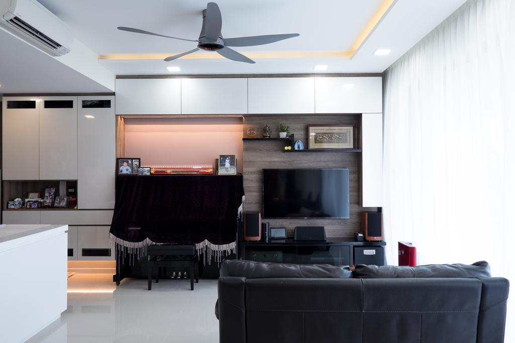 Contemporary, Condo, Living Room, The Topiary, Interior Designer, Nitty Gritty Interior, Modern Contemporary Living Room, Black Sofa, Ceiling Fan, Hidden Interior Lighting, Recessed Lights, Wall Mounted Television, Wooden Panel, Television Console, Built In Shelves