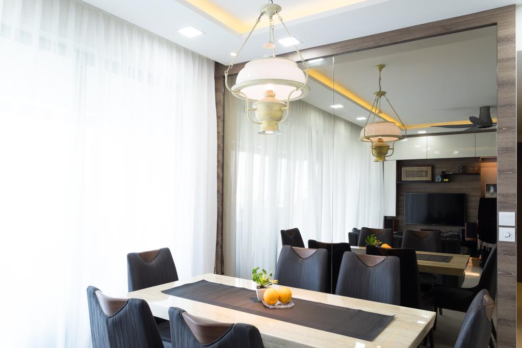 Contemporary, Condo, Dining Room, The Topiary, Interior Designer, Nitty Gritty Interior, Hanging Lights, , Black Dining Chair, Glass Panel, Dining Table, Modern Contemporary Dining Room