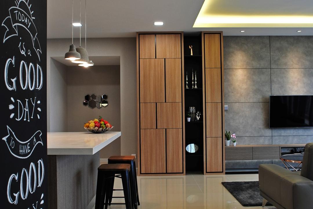 Casa Green - Cheras, Spazio Design Sdn Bhd, Modern, Minimalistic, Dining Room, Condo, Couch, Furniture, Bar Stool, Blackboard, Indoors, Interior Design, Room