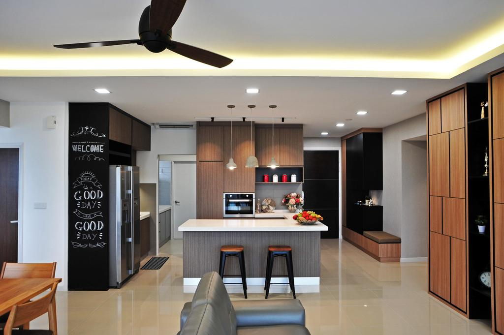 Modern, Condo, Dining Room, Casa Green - Cheras, Interior Designer, Spazio Design Sdn Bhd, Minimalistic, Bench, Couch, Furniture, Propeller, Indoors, Room