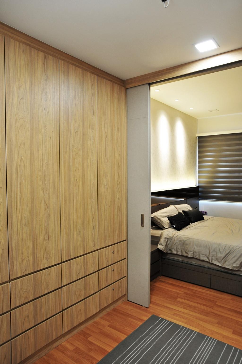 Modern, Condo, Bedroom, Casa Green - Cheras, Interior Designer, Spazio Design Sdn Bhd, Minimalistic, Bed, Furniture, Indoors, Interior Design, Room