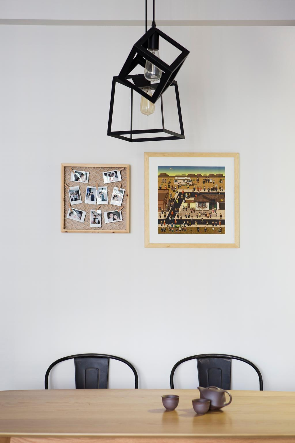 Industrial, HDB, Dining Room, SkyTerrace @ Dawson, Interior Designer, Fuse Concept, Eclectic, Wall Posters, Framed Posters, Hanging Lights, Collage, Poster, Ancient Egypt