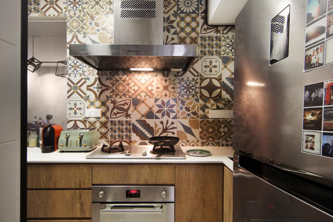 SkyTerrace @ Dawson, Fuse Concept, Industrial, Eclectic, Kitchen, HDB, Hood, Stove, Kitchen Oven, Toaster, Graphc Tiles, Patterned Tiles, Retro Tiles, Indoors, Interior Design, Room