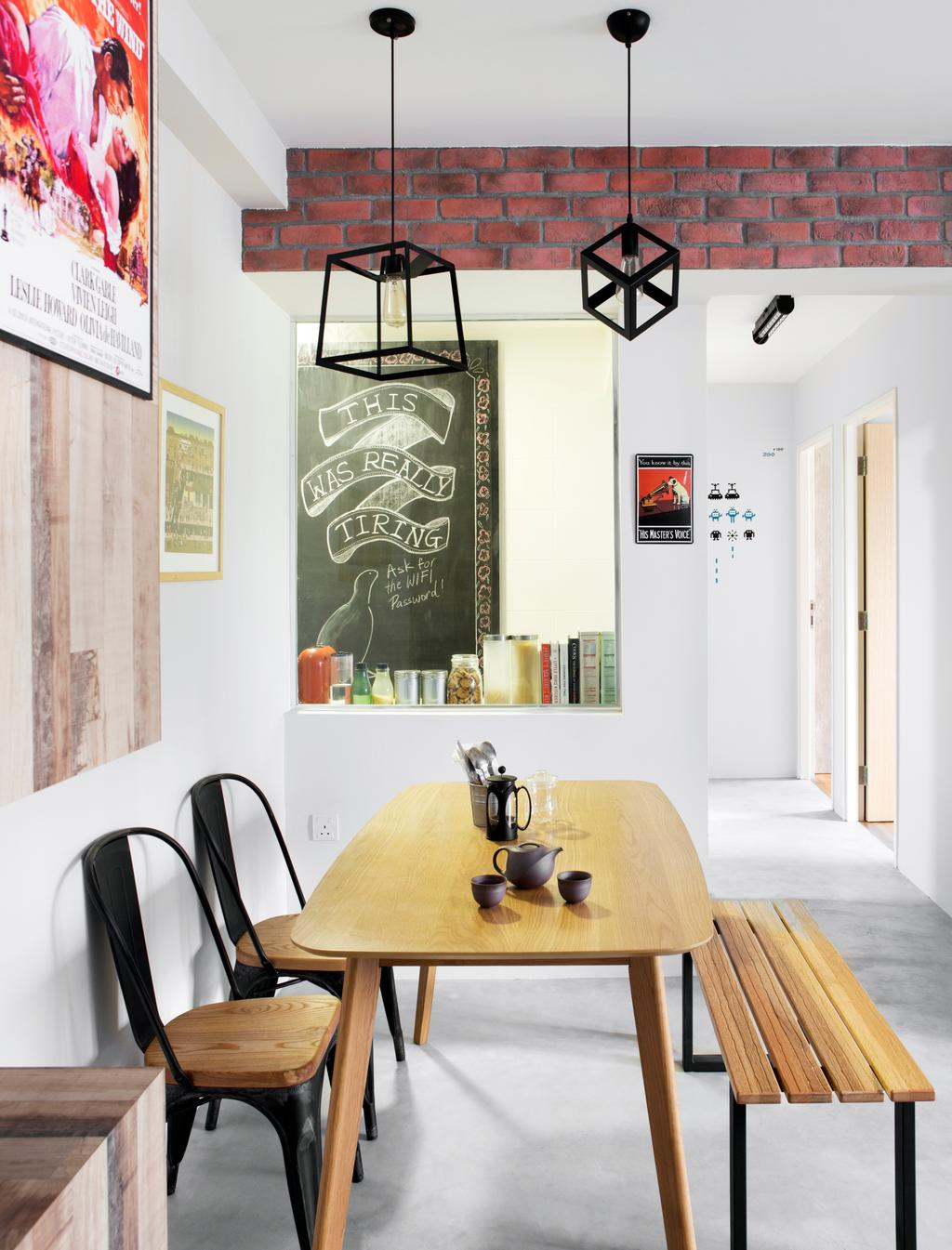 Industrial, HDB, Dining Room, SkyTerrace @ Dawson, Interior Designer, Fuse Concept, Eclectic, Quirky Lamps, Pendant Lamps, Wooden Dining Set, Tolix Chairs, Wooden Bench, Caged Lamps, Indoors, Interior Design, Room, Coat Rack, Blackboard