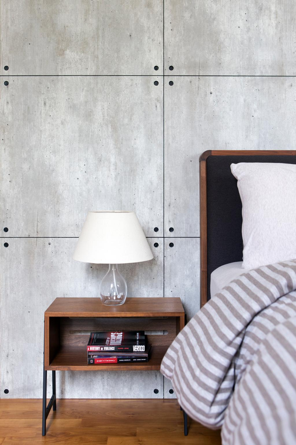Industrial, HDB, Bedroom, SkyTerrace @ Dawson, Interior Designer, Fuse Concept, Eclectic, Side Table, Side Lamp, Bedside Lamp, Wood And Grey