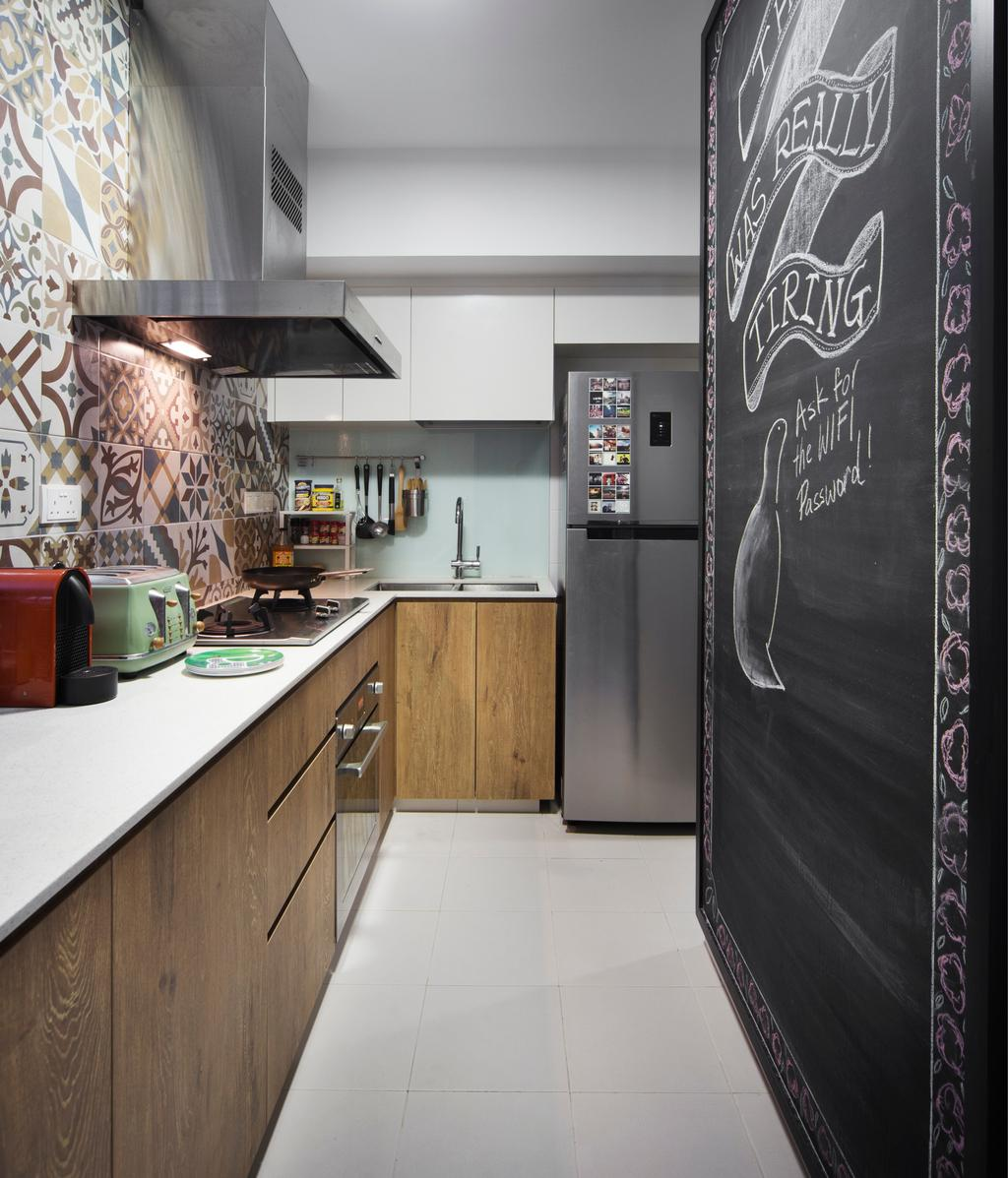 Industrial, HDB, Kitchen, SkyTerrace @ Dawson, Interior Designer, Fuse Concept, Eclectic, Graphic Tiles, Patterned Tiles, L Shaped Kitchen, Chalk Wall, Countertop, Kitchen Countertop, Solid Countertop, Dark Wood, Dark Brown Wood, Vintage Wood