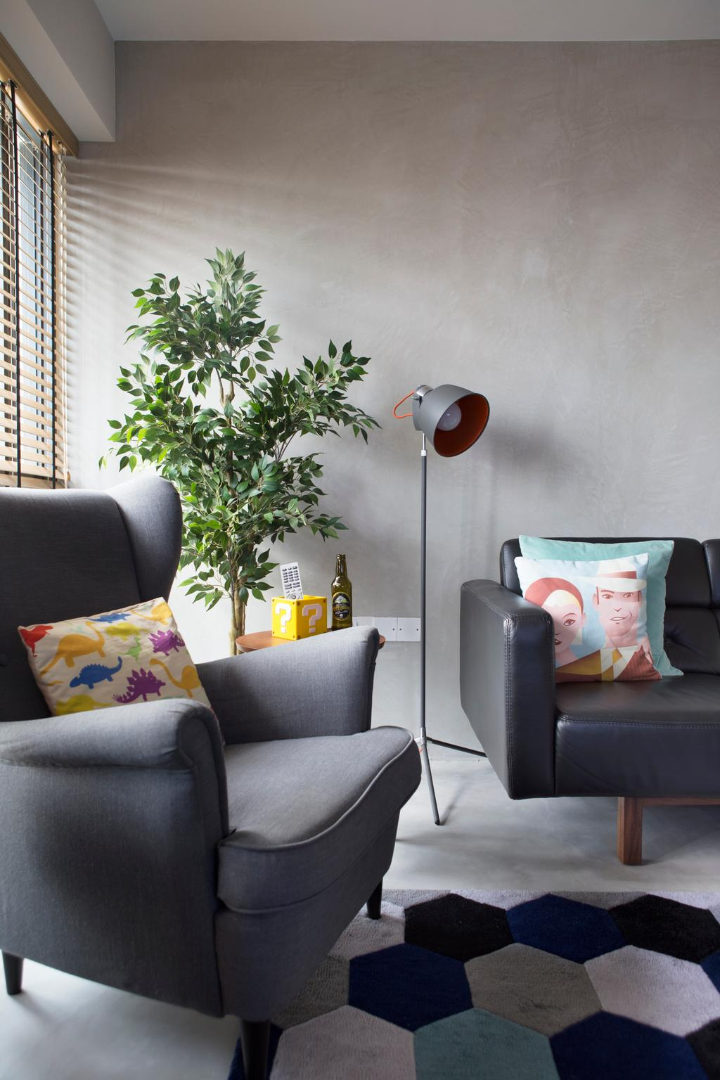 Industrial, HDB, Living Room, SkyTerrace @ Dawson, Interior Designer, Fuse Concept, Eclectic, Armchair, Floor Lamp, Potted Plants, Geometric Rug, Big Rug, Colourful, Flora, Jar, Plant, Potted Plant, Pottery, Vase, Couch, Furniture, Cushion, Home Decor, Chair, Headrest