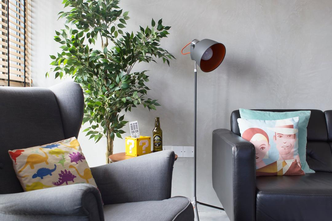 SkyTerrace @ Dawson, Fuse Concept, Industrial, Eclectic, Living Room, HDB, Armchair, Floor Lamp, Potted Plants, Geometric Rug, Big Rug, Colourful, Flora, Jar, Plant, Potted Plant, Pottery, Vase, Couch, Furniture, Cushion, Home Decor, Chair, Headrest