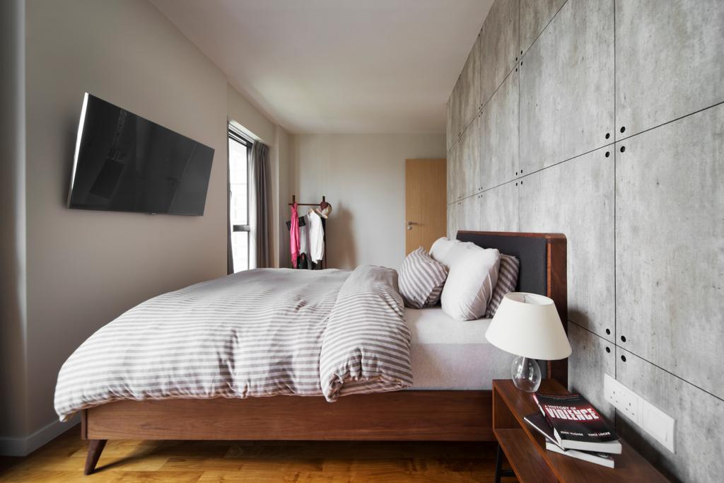 Industrial, HDB, Bedroom, SkyTerrace @ Dawson, Interior Designer, Fuse Concept, Eclectic, Small Bedrom, Wooden Bedrame, Japanese Inspired, Cement Tiled Panels, Cement Panels, Panels, Wall Mount Tv, Indoors, Interior Design, Room