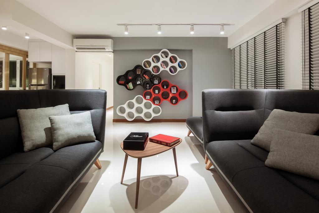 Modern, HDB, Living Room, Sumang Walk (Block 217), Interior Designer, Posh Home, Scandinavian, Couch, Furniture, Chair, Indoors, Room