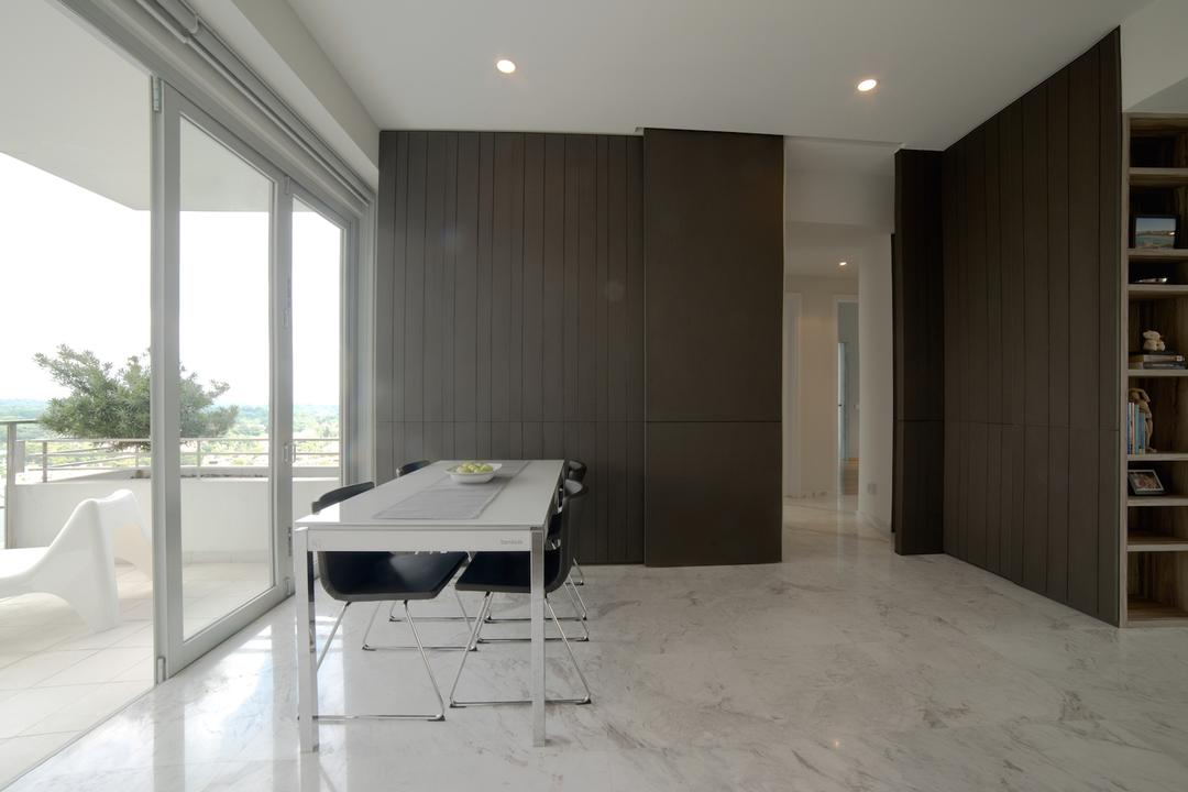 1 Newton, Dyel Design, Contemporary, Dining Room, Condo, Marble Floor, Wooden Laminate, Laminate, Machine, Printer, Flooring, Chair, Furniture, Indoors, Room