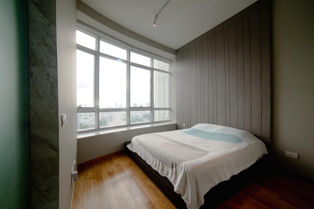Contemporary, Condo, Bedroom, 1 Newton, Interior Designer, Dyel Design, Parquet Flooring, Wooden Flooring, Headboard, Blinds, Bed, Furniture, Indoors, Interior Design, Room, Corridor