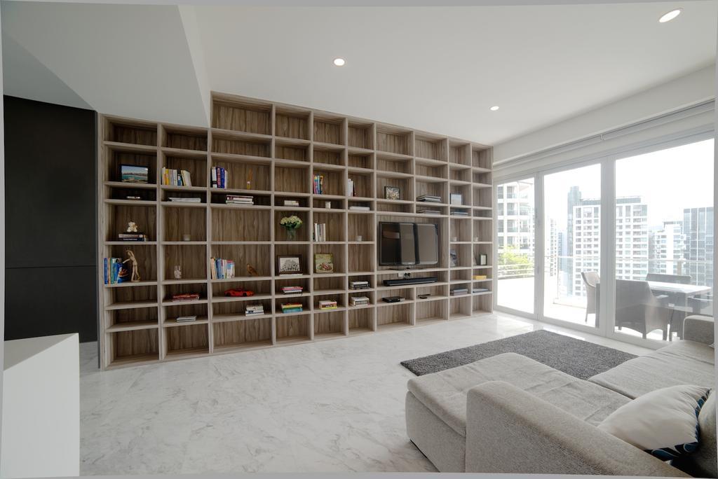 Contemporary, Condo, Living Room, 1 Newton, Interior Designer, Dyel Design, Display Shelf, Display Cabinet, Marble Floor, Sofa, Carpet, Bookcase, Furniture