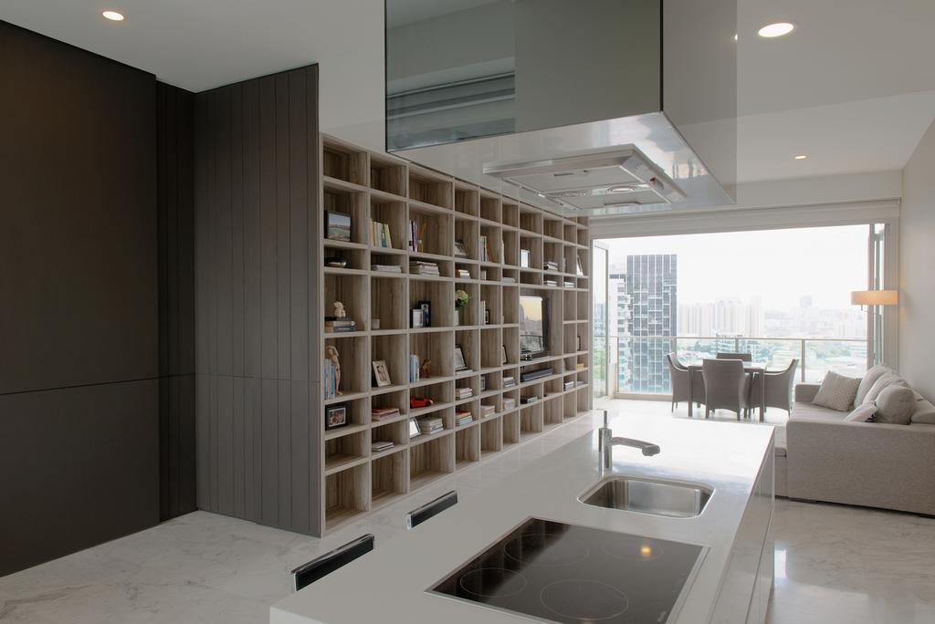 Contemporary, Condo, Kitchen, 1 Newton, Interior Designer, Dyel Design, Marble Floor, White Laminate, Counter Top, HDB, Building, Housing, Indoors