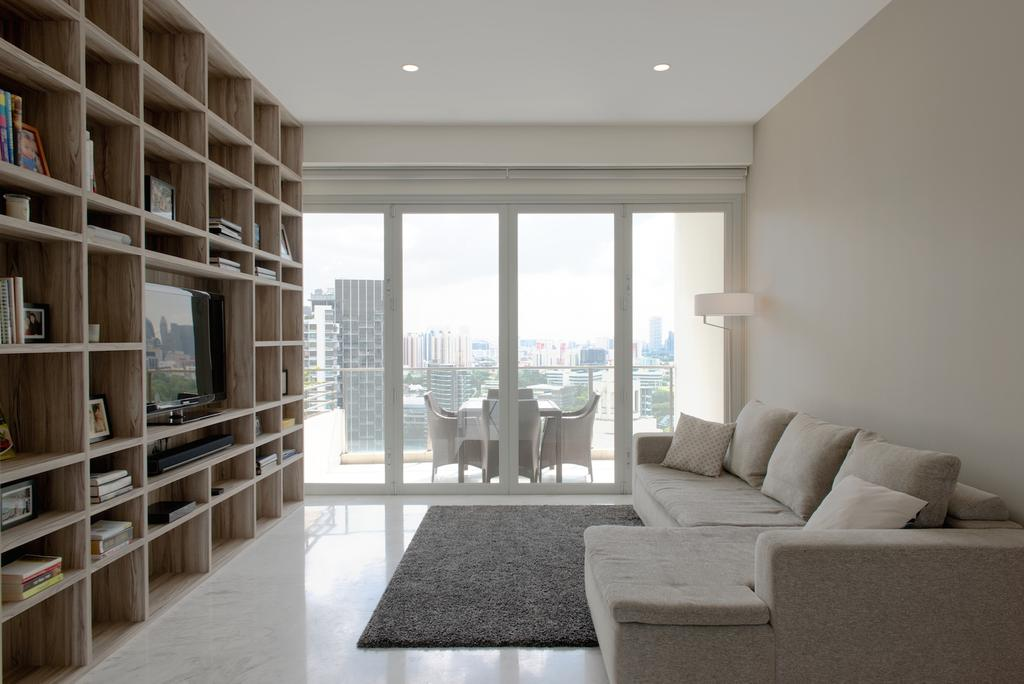 Contemporary, Condo, Living Room, 1 Newton, Interior Designer, Dyel Design, Balcony, Full Length Window, Display Shelf, Carpet, Standing Lamp, Couch, Furniture, Bookcase, Electronics, Entertainment Center