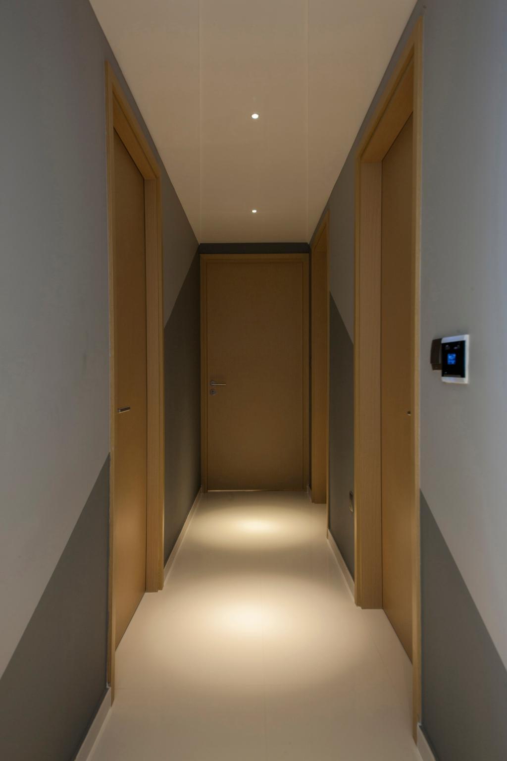 Eclectic, Condo, Twin Waterfalls, Interior Designer, Ascenders Design Studio, Hallway, Recessed Lights, Wooden Door, Flooring