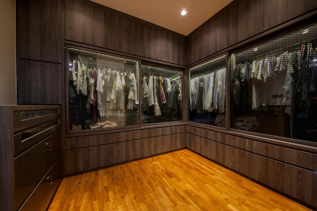 Twin Waterfalls, Ascenders Design Studio, Eclectic, Bedroom, Condo, Recessed Lights, Wooden Floor, Wooden Wardrobe, Glass Panelled Door, Floor