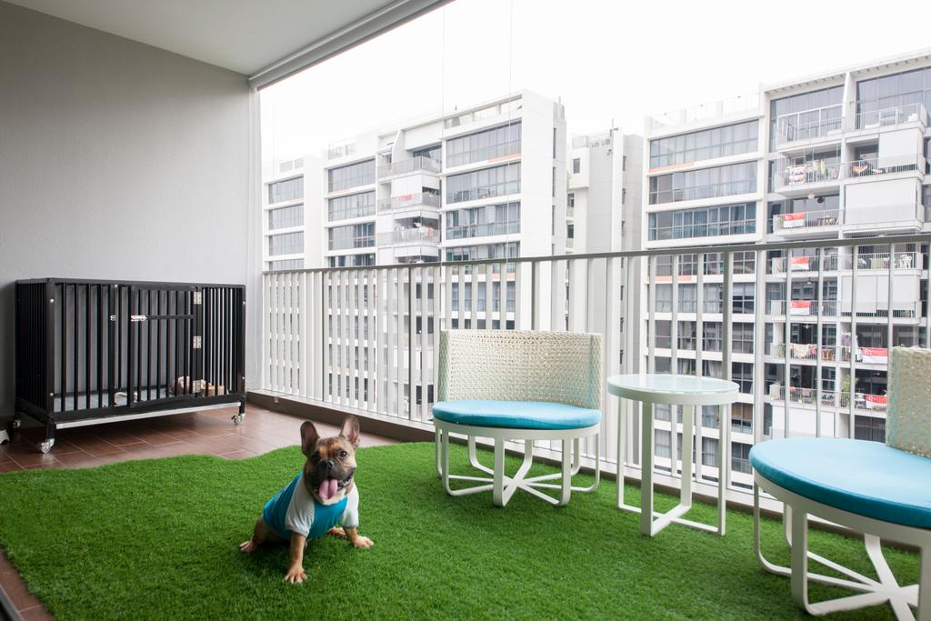 Eclectic, Condo, Balcony, Twin Waterfalls, Interior Designer, Ascenders Design Studio, Wooden Floor, Artificial Grass Rug, Tifanny Blue Chair, White Mini Table, Human, People, Person, Indoors, Interior Design, Library, Room, Patio