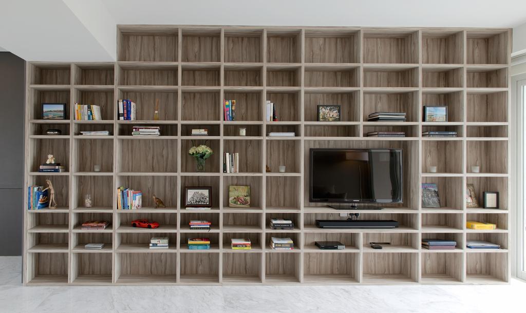 Contemporary, Condo, Living Room, 1 Newton, Interior Designer, Dyel Design, Display Shelf, Display Cabinet, Tv Console, Cubbyholes, Bookcase, Electronics, Entertainment Center, Furniture, Shelf