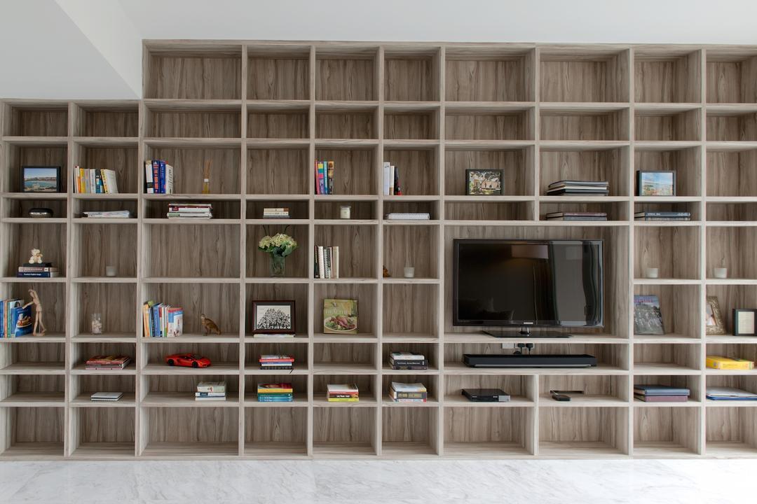 1 Newton, Dyel Design, Contemporary, Living Room, Condo, Display Shelf, Display Cabinet, Tv Console, Cubbyholes, Bookcase, Electronics, Entertainment Center, Furniture, Shelf