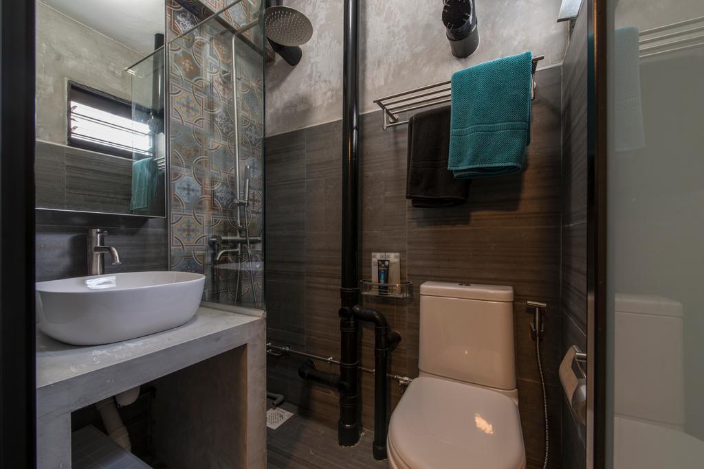 Industrial, HDB, Bathroom, Telok Blangah, Interior Designer, Superhome Design, Towel, Indoors, Interior Design, Room