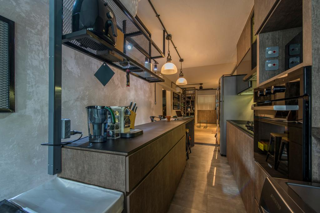 Industrial, HDB, Kitchen, Telok Blangah, Interior Designer, Superhome Design, Building, Housing, Indoors