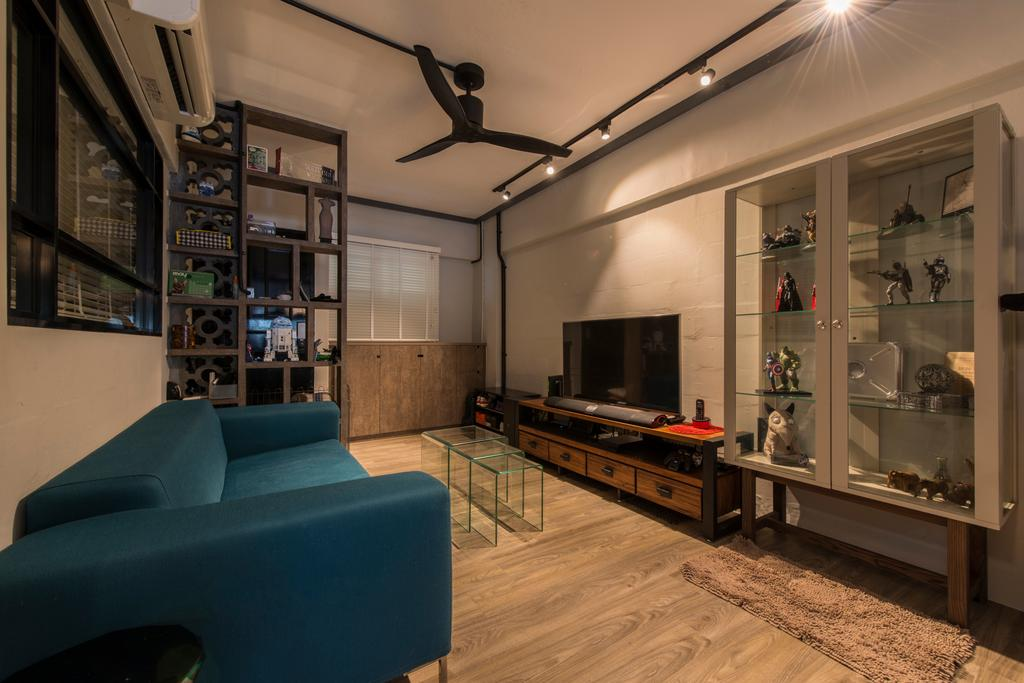 Industrial, HDB, Living Room, Telok Blangah, Interior Designer, Superhome Design, Modern Contemporary Living Room, Wooden Floor, Cyan Sofa, Ceiling Fan, Track Lights, Wall Mounted Television, Television Console, Wall Mounted Shelves, Glass Panel, Couch, Furniture, Indoors, Interior Design