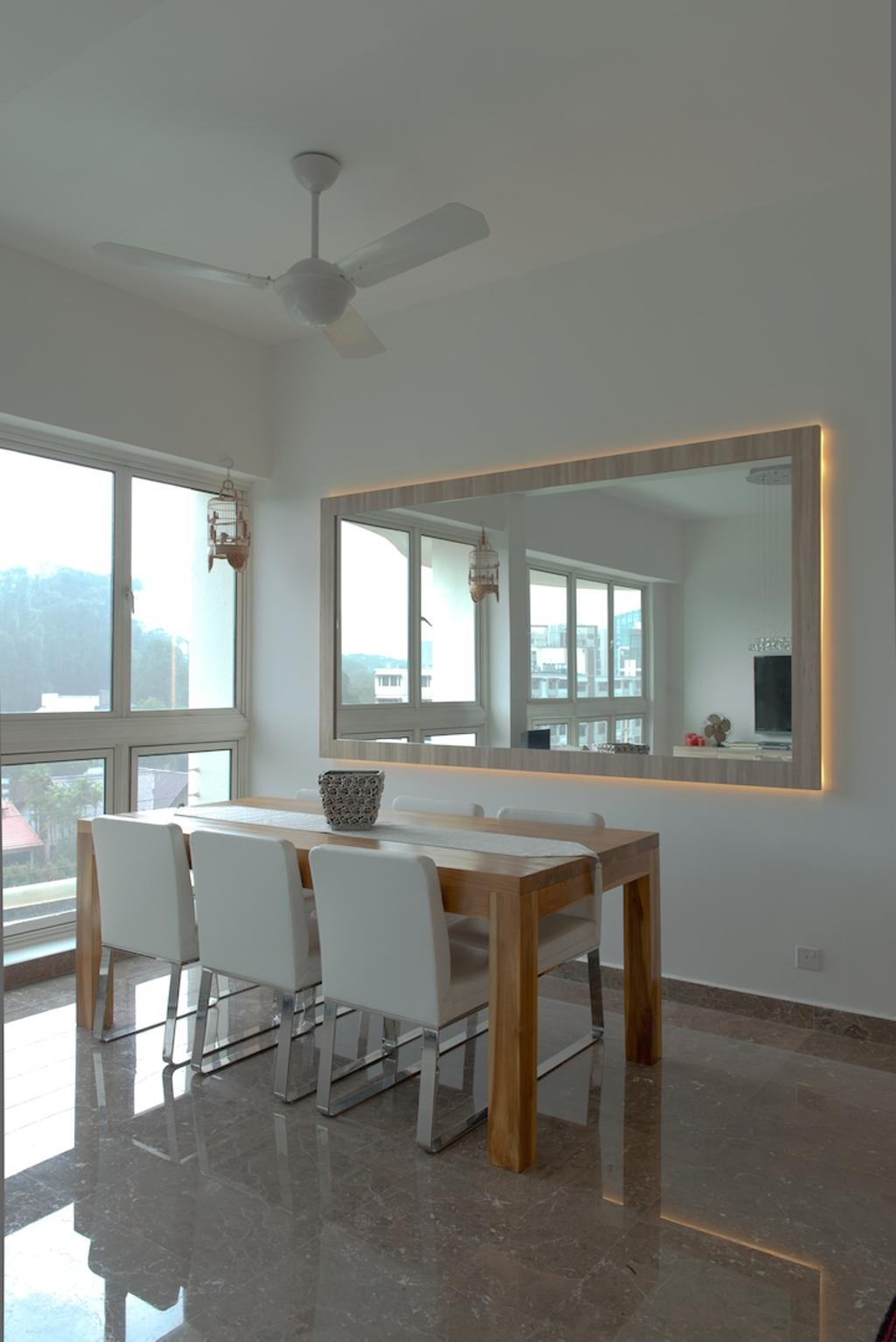 Contemporary, Condo, Dining Room, Holland Hill, Interior Designer, Dyel Design, Marble Floor, Concealed Lighting, Wooden Table, Mirror, Dining Table, Furniture, Table, HDB, Building, Housing, Indoors