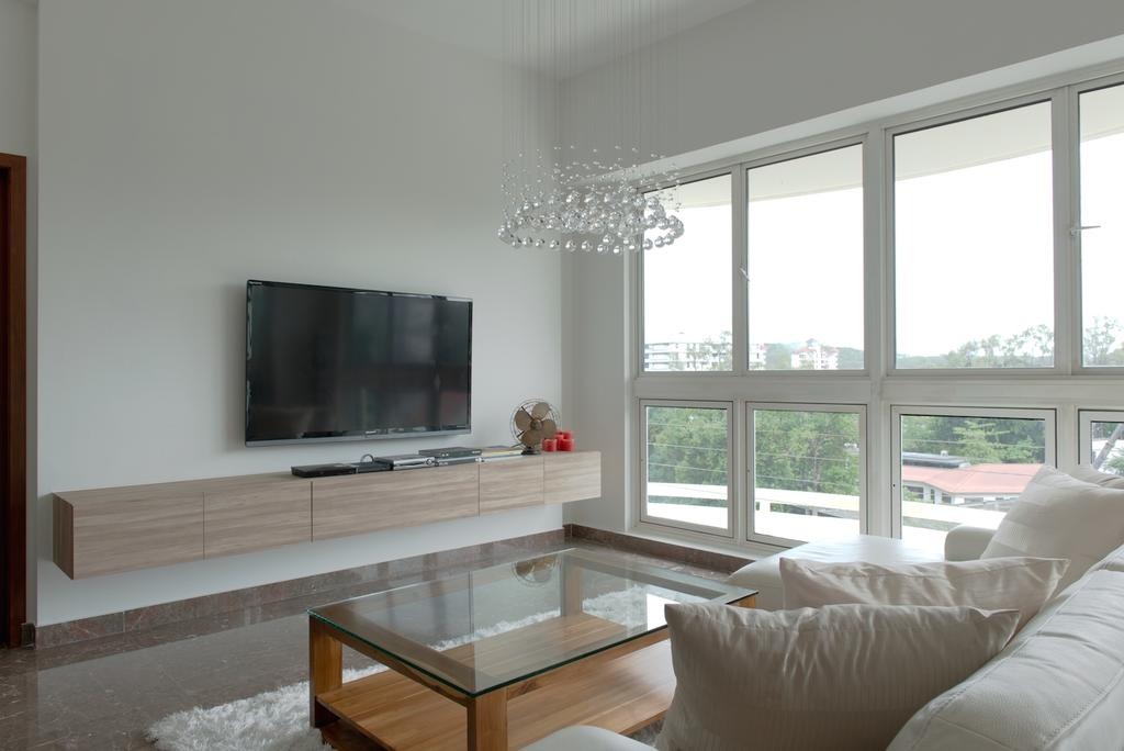 Contemporary, Condo, Living Room, Holland Hill, Interior Designer, Dyel Design, Wooden Console, Wooden Laminate, Chandelier, Crystal Lights, Glass Table, Coffee Table, Rug, Window, HDB, Building, Housing, Indoors