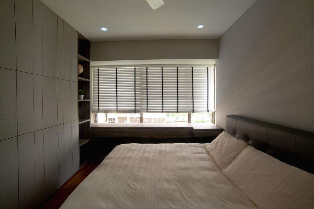 Scandinavian, Condo, Bedroom, Waterfront Gold, Interior Designer, Dyel Design, Venetian Blinds, Display Shelf, Headboard, Indoors, Interior Design, Room