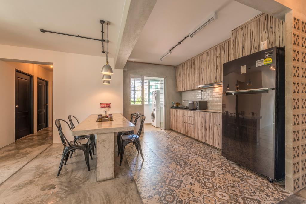 Scandinavian, HDB, Kitchen, Upper Serangoon Crescent (Block 473C), Interior Designer, Voila, Retro, Dining Table, Furniture, Table