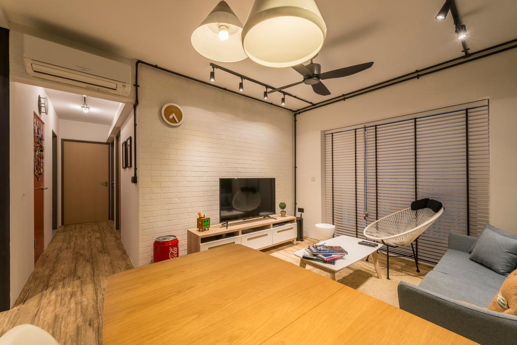 Eclectic, HDB, Living Room, Skyville @ Dawson, Interior Designer, Voila, Chair, Furniture, Indoors, Interior Design, Light Fixture, Hammock, Corridor, Room